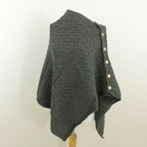 New Ireland Soft Wool 3 Way Poncho Shrug Wrap Gray